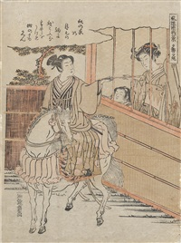 yagao no sekisho (from furyu genji hakkei [eight views of elegant genji]) (chuban tate-e) (+ 3 others; 4 works) by isoda koryusai